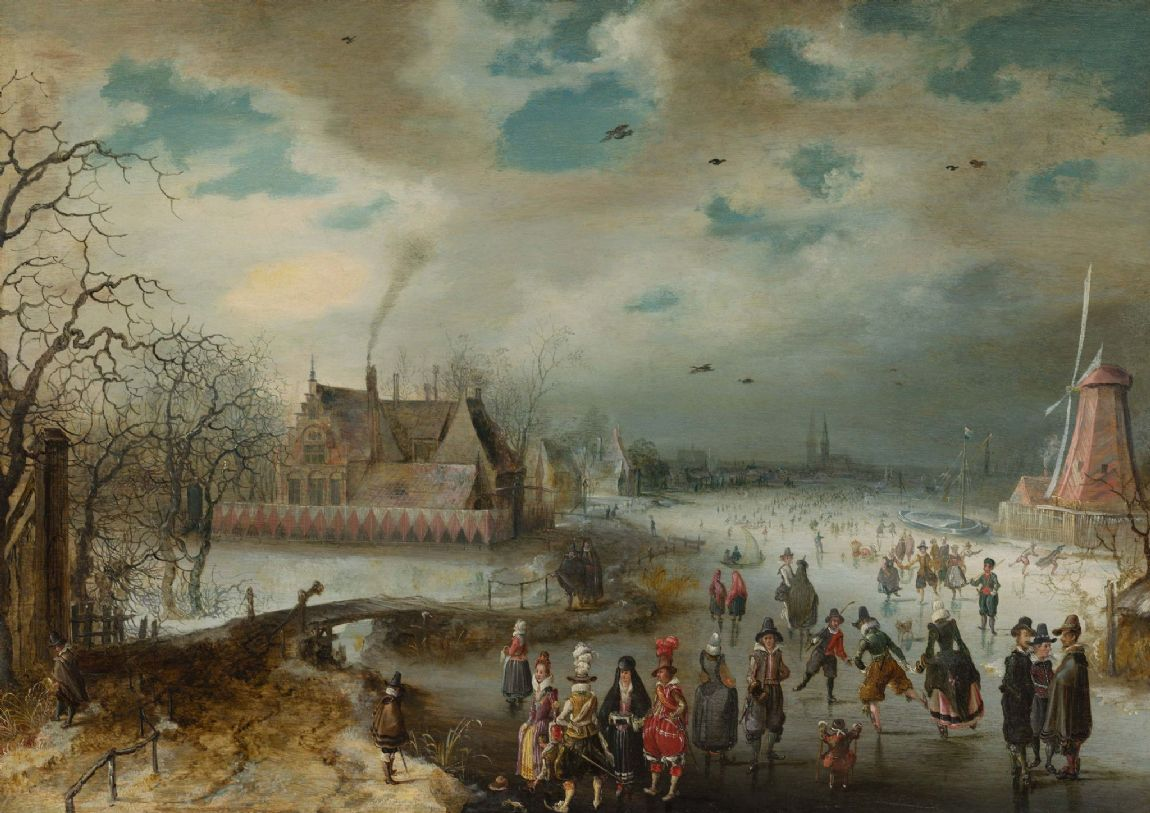 Breen, Adam van: Skating on the Frozen Amstel River. Fine Art Print/Poster. Sizes: A4/A3/A2/A1 (004083)